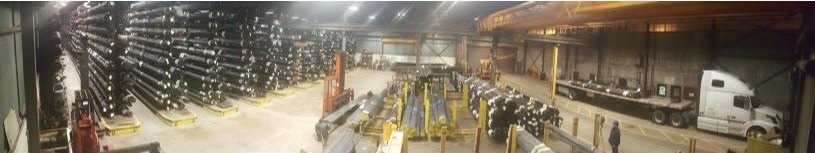 Interior panoramic view of metal tube supplier distribution center in Chicago
